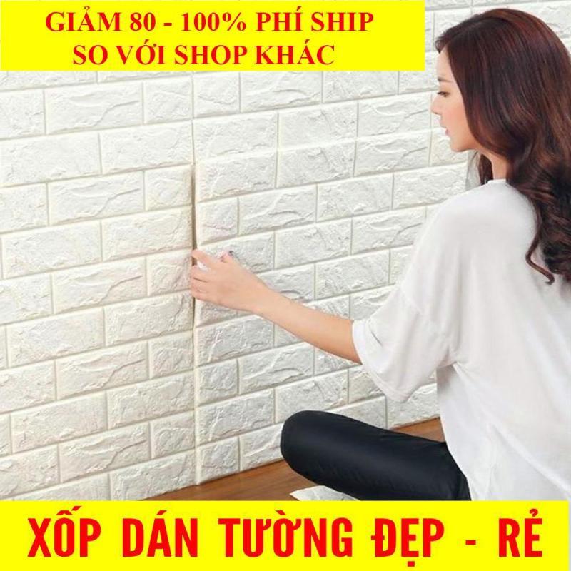 [ MIỄN SHIP HN-HCM-ĐN ] 10 tấm Xốp Dán Tường 3D Giả Gạch / Chịu lực, chống nước, chống ẩm mốc / 70x77cm
