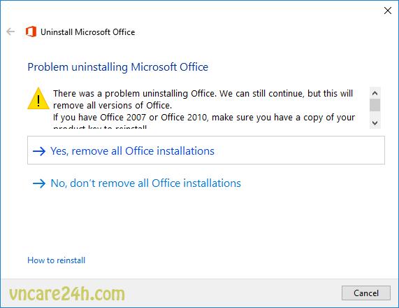 Office 2016 lỗi Error Code 30180-4