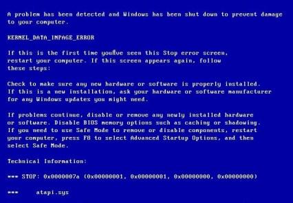 Kernel Data Inpage Error (0x0000007a)