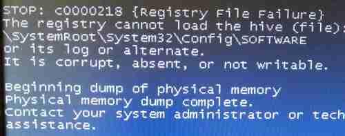 registry file failure