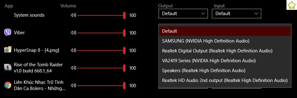 cấu hình nguồn phát âm thanh cho từng ứng dụng