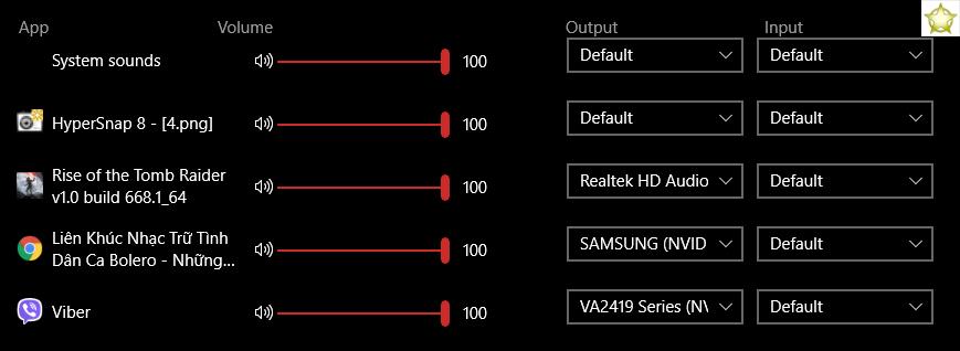 thiết lập nguồn phát âm thanh khác nhau trên windows 10