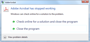 Adobe Acrobat has stopped working