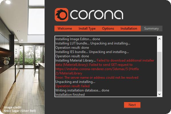Corona 5 không cài được Material Library