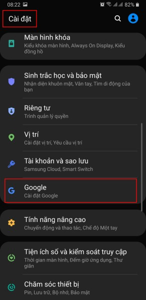 dong bo danh ba dien thoai vao gmail