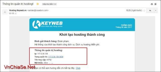 đăng ký Hosting miễn phí Việt Nam tại Keyweb.vn