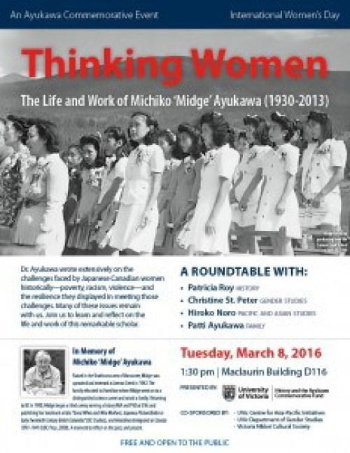 ", Thinking Women – Roundtable honouring the life and works of Michiko ""Midge"" Ayukawa, VNCS"
