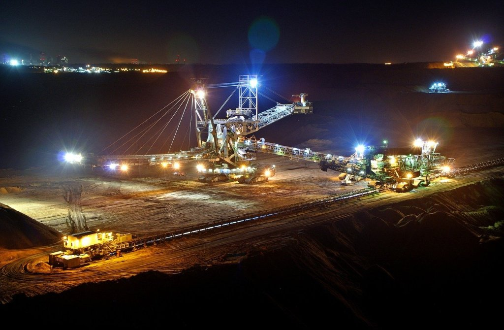 open pit mining, night, bucket wheel excavators