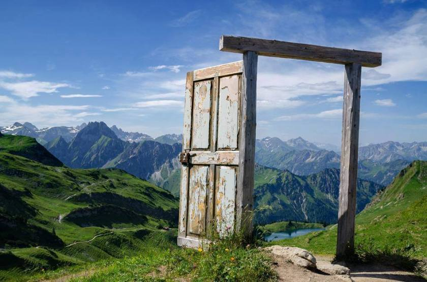 Open door in the mountains