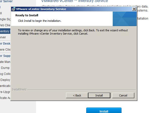 vcenter inventory service upgrade step 5