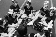 The Dynamic Cheer Super Stars special needs cheerleading team prays following a practice on Saturday April 2, 2016 in Lynchburg, VA. The special needs of the team members range from ADHD and Aspergers to Down Syndrome.