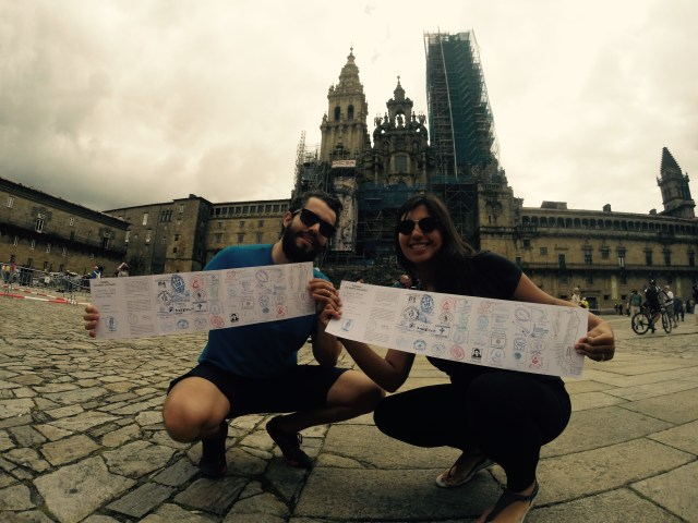 This picture is in-front of the cathedral in Santiago de Compostela on the day we arrived. We are displaying our camino passports