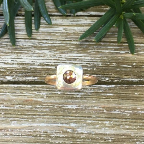 natural red diamond silver and gold handmade ring