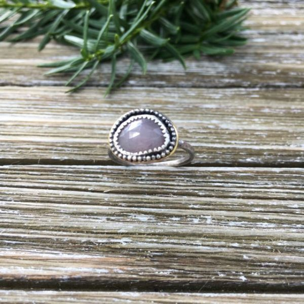 rose cut pink sapphire silver ring