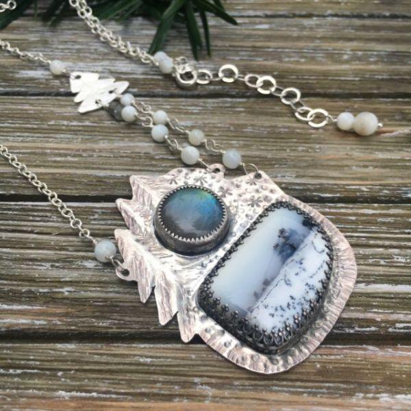 winter dendrite opal necklace