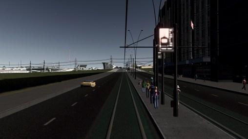Trams running past the stadium