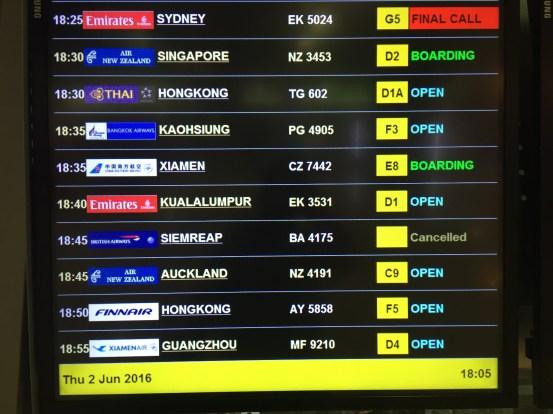 Painel com informações dos voos
