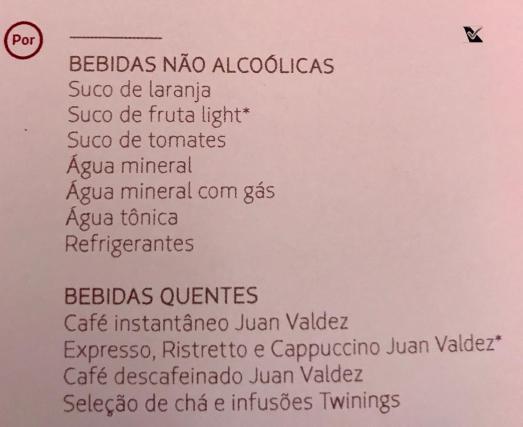 LATAM - Menu Bebidas - Business SCL AKL 2