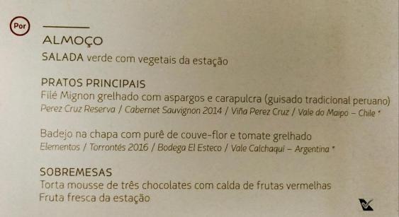 Menu Almoço - Premium Economy - LATAM - GIG SCL
