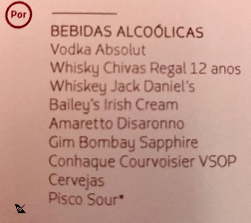 Menu Bebidas Alcoolicas Diversas - LATAM - Business
