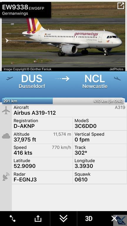 Flight Radar - Voo DUS NCL