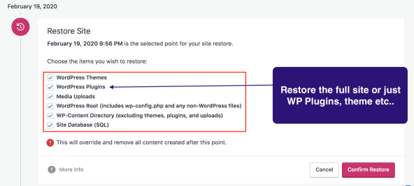 Restoring a WordPress site with JetPack