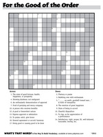 """giant crossword """"For the Good of the Order"""""""