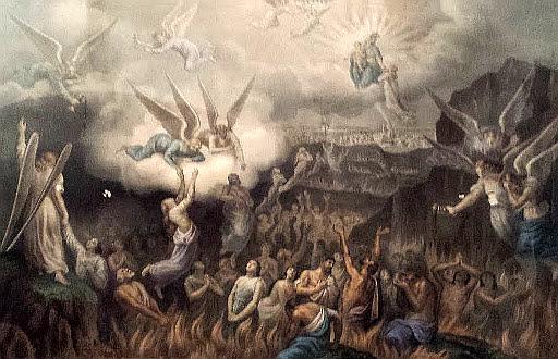 Almas do purgatórios em uma cisterna de fogo