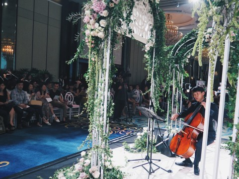 Cello in island ballroom
