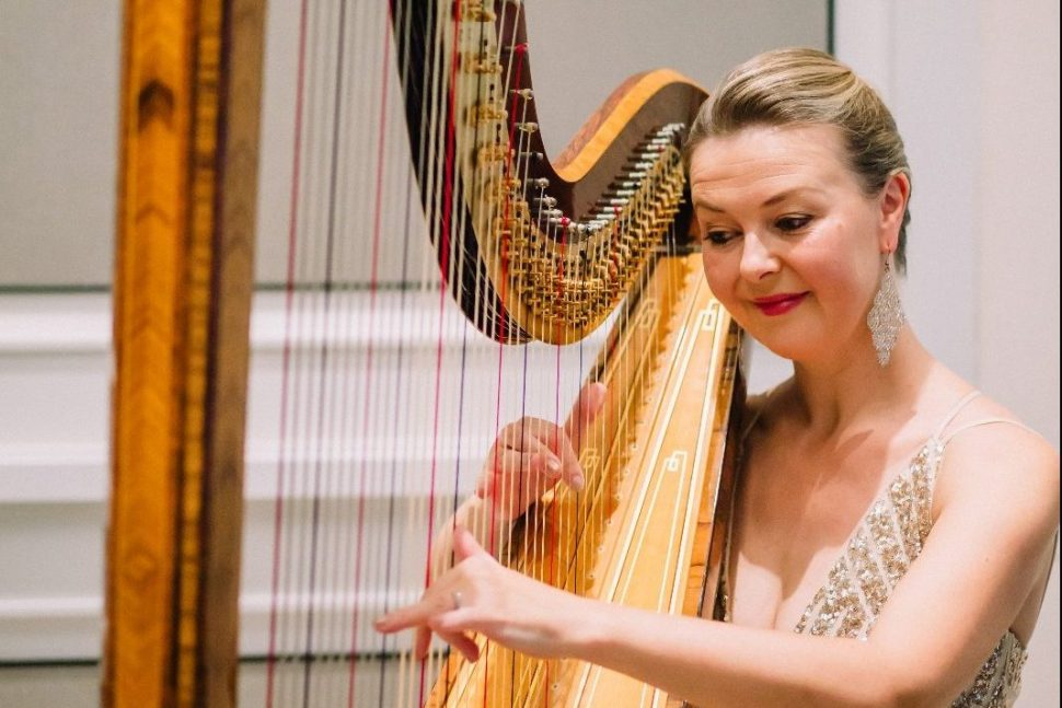 Harpist playing classical music