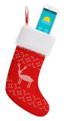 iPhone with our One Minute Voice Warmup app in a Christmas stocking