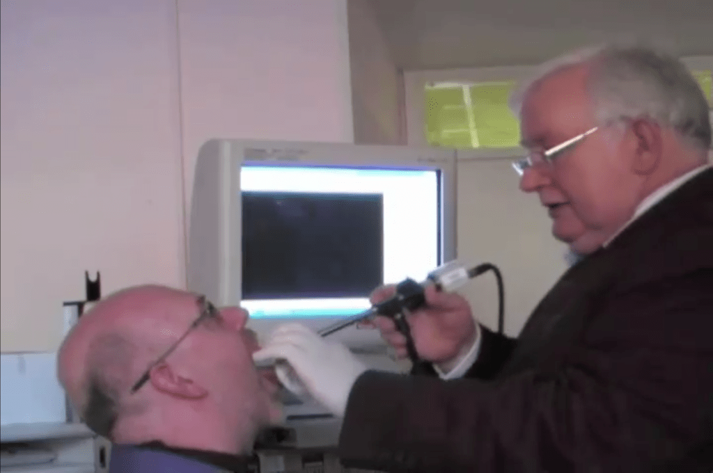 Jeremy Fisher in the voice clinic during a stroboscopy examination