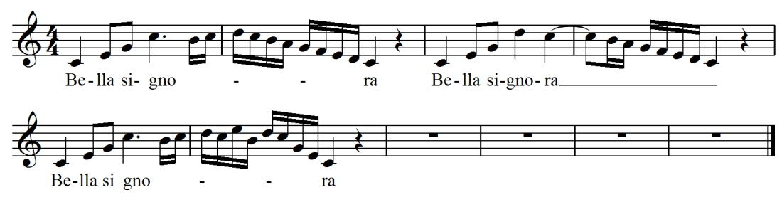 The music written out for Bella Signora, a classically-based vocal exercise