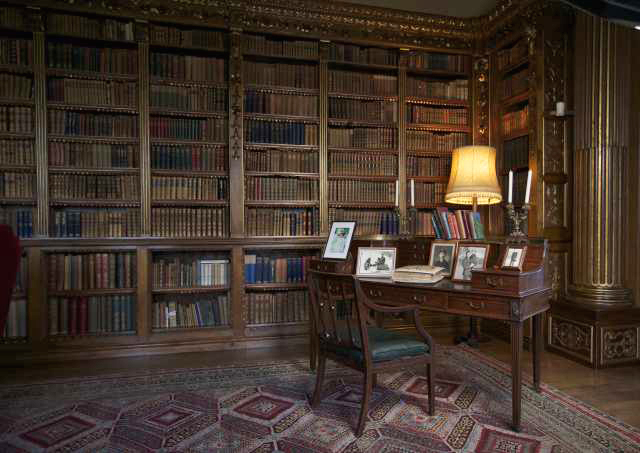 NEWBURY, ENGLAND - MARCH 15: The Earl's desk is displayed in the library in Highclere Castle on March 15, 2011 in Newbury, England. Highclere Castle has been the ancestral home of the Carnarvon family since 1679. It has recently been made famous as the setting for the hugely popular ITV series Downton Abbey starring Hugh Bonneville, Maggie Smith and Elizabeth McGovern. The first series ran in 2010 and due to its global ratings ITV have confirmed a second series will be screened in 2011. (Photo by Matthew Lloyd/Getty Images)