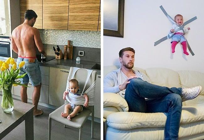 16 fotos de pais mostrando o que acontece quando cuidam dos filhos