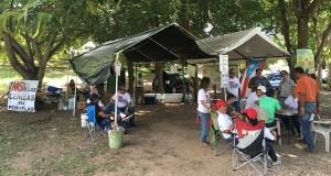 El Campamento contra las cenizas de carbón está ubicado en la carretera PR-385 en Peñuelas. (Voces del Sur)
