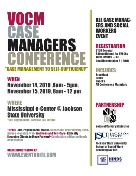 "Welcome to VOCM's First Annual Case Manager Conference, ""Case Management to Self-Sufficiency"""