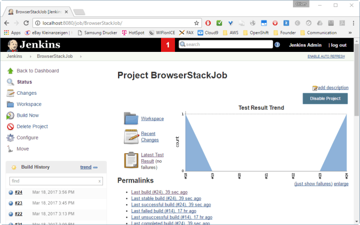 Jenkins Job showing Test Results Trend