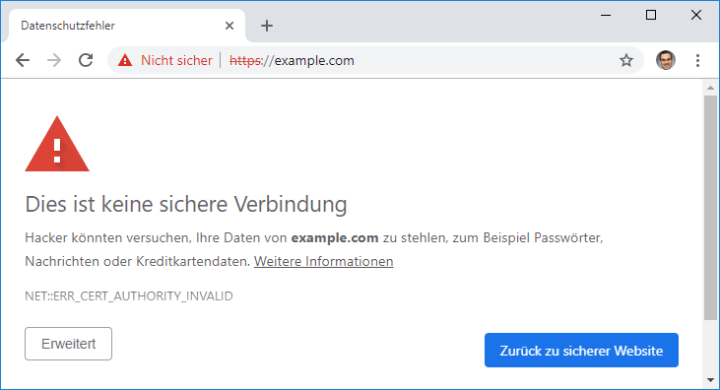 Security alert when accessing a site with self-signed certificate that is not marked as trusted