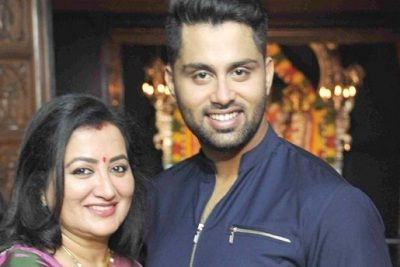 Abhishek with his mother