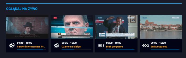 Platforma TVN24 GO oferuje TVN24, i TVN24 BiŚ