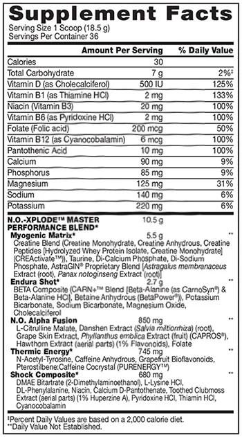 no xplode review ingredienten