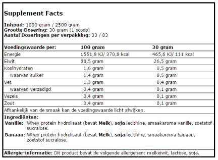 whey hydrolsate xxl nutrition