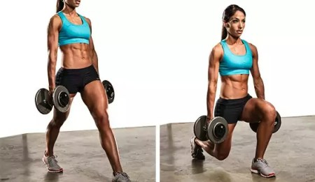 dumbbell lunges uitvoering