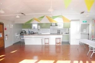 kitchen island under mural