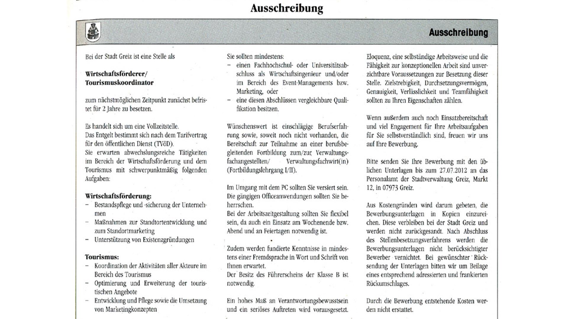 Stellenausschreibung im Amtsblatt von Greiz