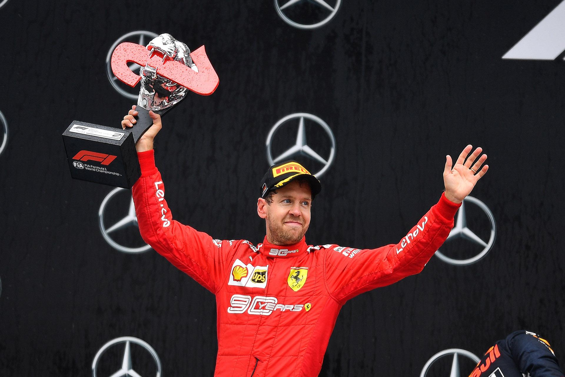 Ferrari-Pilot Sebastian Vettel (Heppenheim) wird nach toller Aufholjagd Zweiter in Hockenheim (von Fotograf Thorsten Horn)