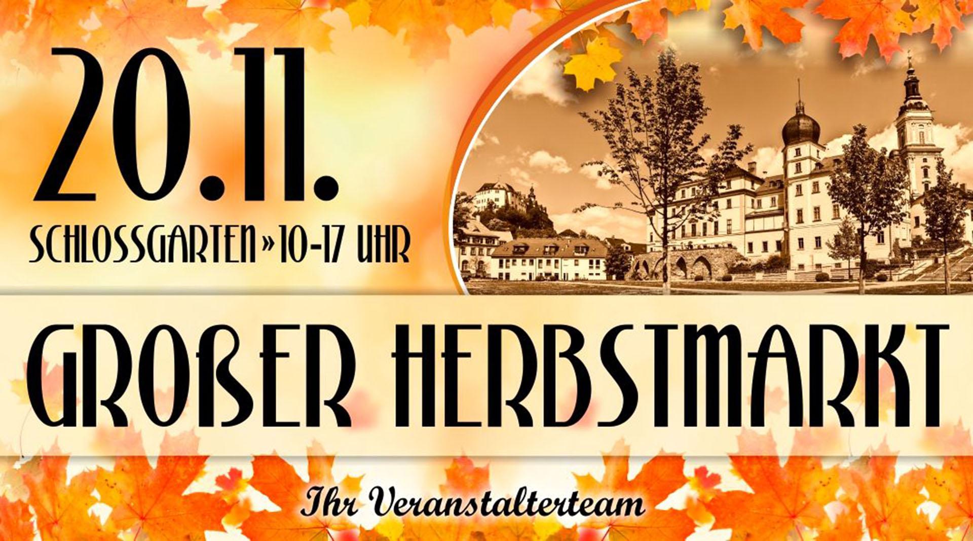 Großer Herbstmarkt am 20.11. im Schlossgarten