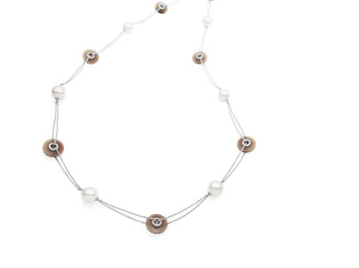 Paspaley Australian South Sea pearl 'Viva' necklace with smoky quartz, keshi pearls and pavé set diamonds in 750 white gold.