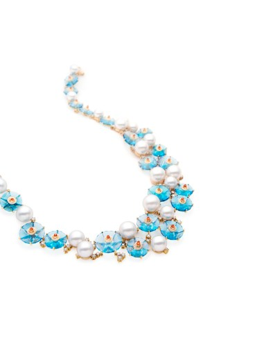 Limited edition Paspaley Australian South Sea pearl 'Viva' collier with blue topaz, mandarin garnets and pavé set diamonds in 750 yellow gold.